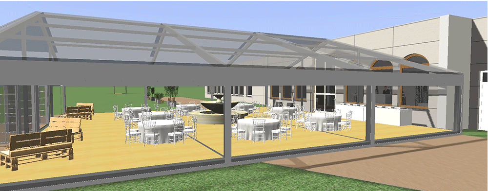 Hochzeitslocation Thüringen Orangerie Zelthochzeit 3D-Planung